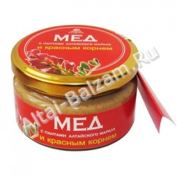 Мед с пантами алтайского марала и красным корнем, 150 гр